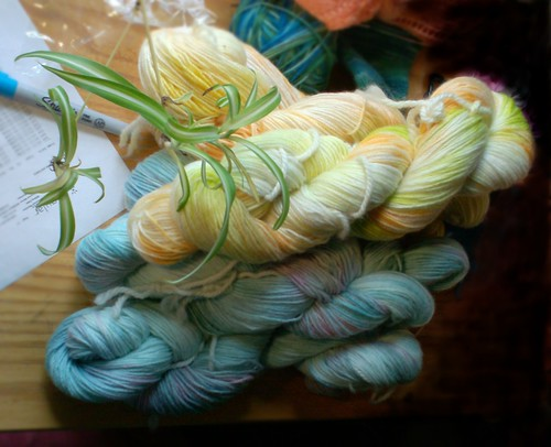 Yellow and blue hand dyed sock yarn