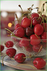 Tart Cherries in a Crystal Bowl