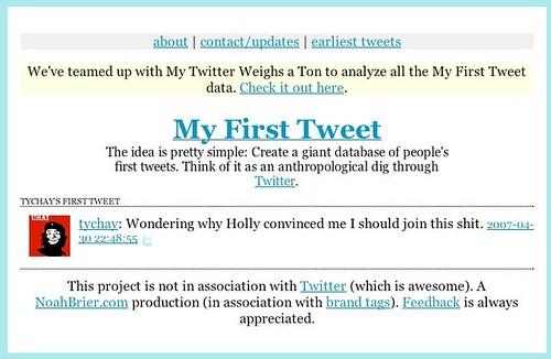tychay's first tweet
