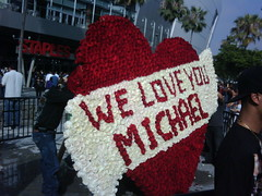 Heart of roses at Michael Jackson Memorial
