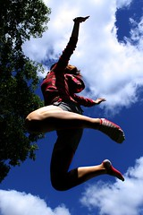 Jump! (Camera*Girl) Tags: sky me girl clouds jumping sick beautifulday stripedsocks
