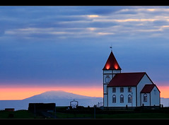 Klfatjarnarkirkja at Sunset (orvaratli) Tags: ocean travel blue sunset church sunrise landscape volcano lava coast iceland north stripe atlantic arctic snfellsjkull reykjavk icelandic klfatjarnarkirkja keflavk vatnsleysustrnd arcticphoto rvaratli orvaratli