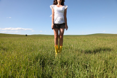 short shorts and yellow boots