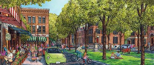 a rendering of the neighborhood's main commercial quare, when mature (courtesy of Dover Kohl & Partners)