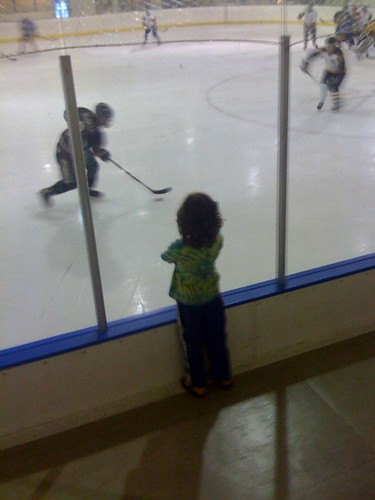 Max bearing witness to our friend Dan's hockey game