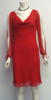 Red Silk Party Dress Size 2