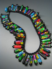 Hundertwasser-Necklace (b.mariatheresia) Tags: black necklace beads handmade jewelry polymerclay clay bead multicolor polymer polymerclaybeads polymerclaynecklace