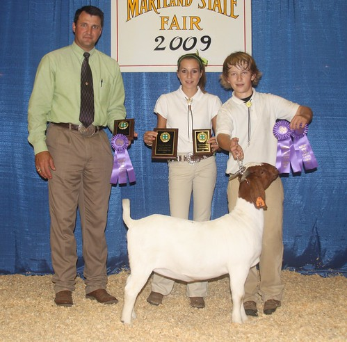 Grand Champion Doe and Best Bred and Owned Breeding Goat exhibited by Cooper Bounds (R)
