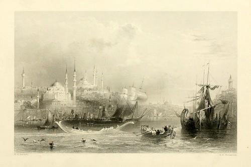 018- El puerto de Constantinopla-Las bellezas del Bosforo 1838-W.H. Bartlett