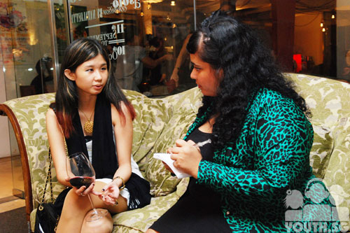 nataliette being interviewed by Nawaira Baig of youth.sg
