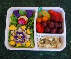 Koffing Bento (sherimiya ) Tags: school fruits kids lunch kid healthy sheri homemade pokemon noodles bento padthai sweetpotato radish obento pumpkinseeds cottagecheese peapods koffing satsumaimo firstgrader okinawansweetpotato sherimiya yellowandpurplecauliflower