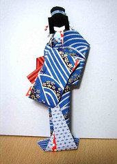 Lady in blue - Hand-made Japanese paper doll (tengds) Tags: blue kimono obi hairstyle origamipaper papercraft japanesepaper washi ningyo handmadedoll chiyogami yuzenwashi japanesepaperdoll origamidoll shikishidoll toyokohaitani tengds