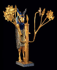 Ram Caught in a Thicket, Gold, silver, lapis lazuli, copper, shell, red limestone, and bitumen, H. 42.6 cm. Penn Museum Object 30-12-702.