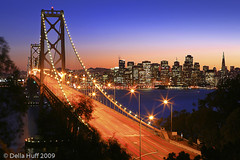 San Francisco Icon (Della Huff Photography) Tags: sanfrancisco longexposure bridge skyline night evening twilight baybridge yerbabuena