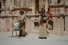 Jordanian Bagpiper and Drummer