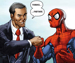 Spider Man gives Obama