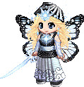 Description: Cartoonized female figure with butterfly wings and light blue sparkly balls on her forehead and around her neck holding a light blue sword wearing a black top and light blue Japanese style pants.