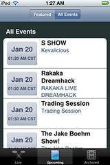 uStream - Upcoming -> All Events