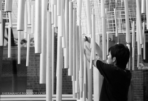 Stringing the chimes - KLPac Installation