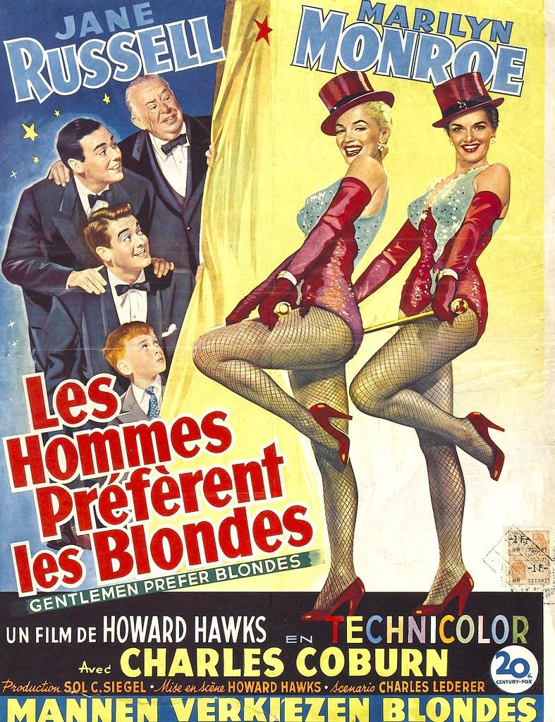 Gentlemen Prefer Blondes Belgian Movie Poster