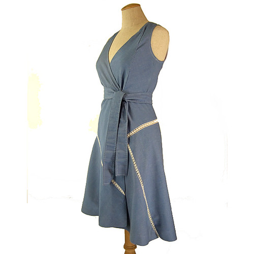 VINTAGE 1970's Women's Clothing, Blue Chambray Wrap Dress JUMPER with
