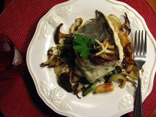 Pan Seared Trout Topped w/ Crispy Shiitake with Parsnip Puree and Roasted Veg