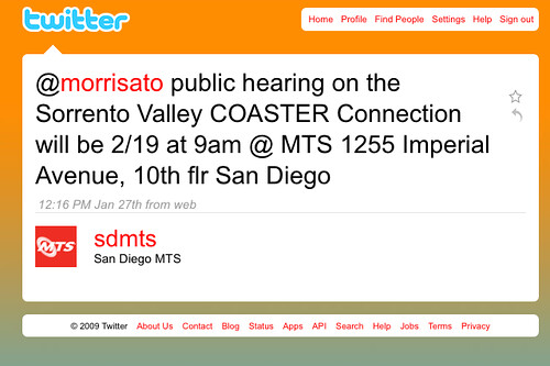 Its nice that MTS uses a twitter account to keep riders up to date. I hope every transit authority will follow suit.