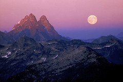 The Judge and the Moon (justb) Tags: park pink sunset moon mountain mountains film colors yellow landscape scenery bc purple full mount velvia judge fujifilm rugged beltofvenus provincial mountainous justb howay