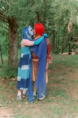 Fausto and Marc share a kiss, Faerie Gathering at Short Mountain, Tennessee- May 1, 1999.