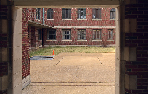 The former Christian Brothers College High School, in Clayton, Missouri, USA - courtyard