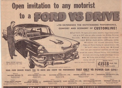 1957 Ford Customline V8 Ad