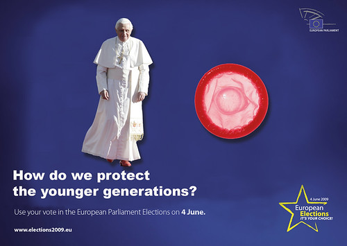 Spoof EU elections 09 poster: pope or condom