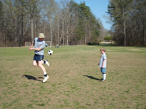 Learning Soccer tricks from Daddy