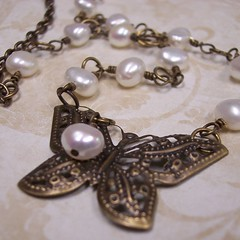 Antique Brass Butterfly and Pearls Necklace (Just The Thing 4 U) Tags: white butterfly antique feminine jewelry pearls romantic etsy brass vintagestyle