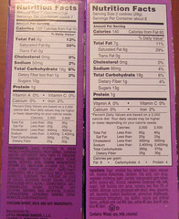 Nutritional Differences (xerlia) Tags: cookies girlscout samoas carameldelites scientificresearch
