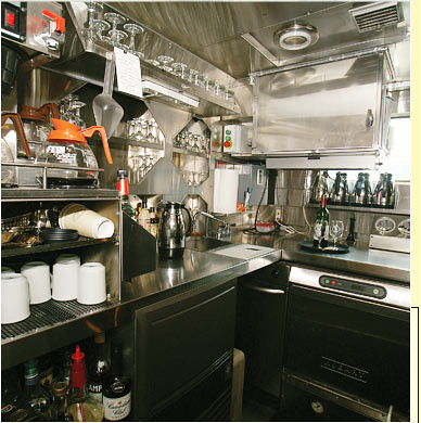 Train Chartering - The Puget Sound private rail car galley