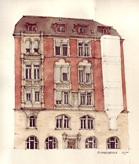 Elisabethenstrae (Flaf) Tags: colour water pencil stuttgart drawing florian residential ansicht stuttgartwest flaf bismarckplatz afflerbach