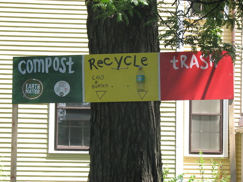 compost, recycle, trash