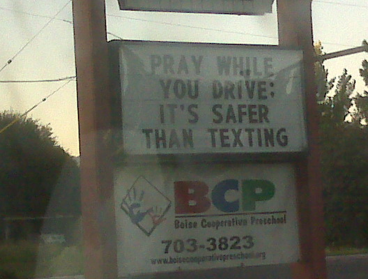 Pray While You Drive: It's Safter Than Texting