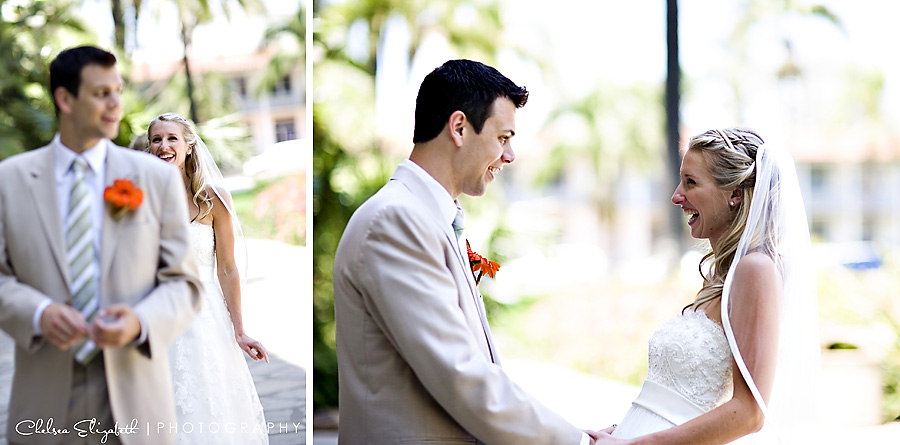 Santa Barbara courthouse sunken gardens first glance bride and groom moment