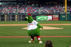 The Phillie Phanatic looking down to the left