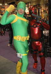 Beginning to Look a Lot Like Christmas (John 3000) Tags: california ca red people silly men green comics fun cool funny gente sandiego cosplay bob dressup tights characters superheroes marvel comiccon spandex villains lycra hombres bulges deadpool bobagentofhydra