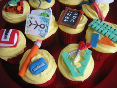 school cupcakes (cherries and chives-zaheera badat) Tags: pink flowers school tower make up leather cake pen pencil butterfly gold cupcakes purple crystal designer lace chocolate turquoise nail polish velvet lipstick eyeshadow ruler individually orane quills crafted cherriesandchives zaheerabadat