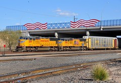 Union Pacific Railroad westbound freight train led by EMD S70M locomotives 4597 and 3904 entering Tucson, Arizona, yard, March 9, 2008 (Ivan S. Abrams) Tags: railroad bridge arizona usa chicago phoenix up america train losangeles illinois nikon nebraska tucson railway americanflag trains unionpacific locomotive freighttrains railways locomotives railroads e9 e8 freighttrain uprr emd sd402 sw1500 goodstrain sd40 gp402 sd70m c449w pimacounty es44ac mp15dc bensonarizona goodstrains northplattenebraska widecab onlythebestare sybilarizona ivansabrams nikond300 pimacountyarizona cochisecountyarizona davidsoncanyonarizona lacienegaarizona abramsandmcdanielinternationallawandeconomicdiplomacy ivansabramsarizonaattorney ivansabramsbauniversityofpittsburghjduniversityofpittsburghllmuniversityofarizonainternationallawyer