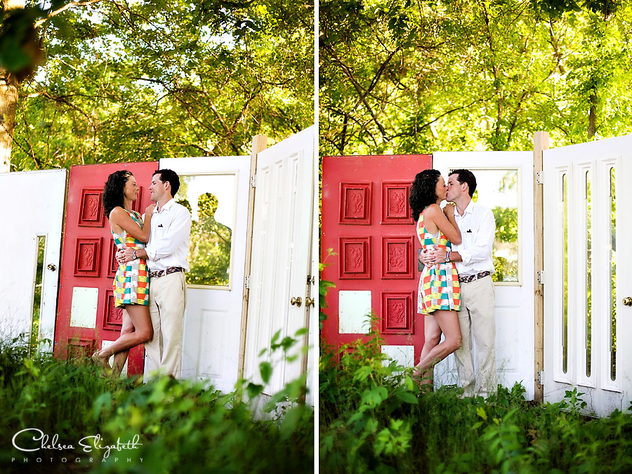 The Tree House bride and groom portraits along assorted old doors