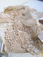 Old Lace Samples (Wychbury Designs) Tags: vintage beige box lace antique sewing crafts cream samples