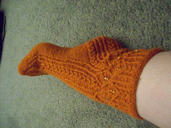 Sock 1 Done - Side - Unblocked (calophi-chan) Tags: mystery knitting sock kal