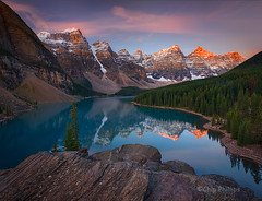Moraine Lake sunrise (Chip Phillips) Tags: park lake canada reflection fall sunrise landscape photography phillips national alberta chip banff moraine mywinners natureselegantshots magicunicornverybest