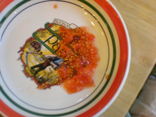 A bowl with seeds, gel, and tomato juice