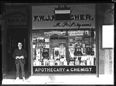 FW Fletcher's Chemist shop, Newcastle, NSW, [June 1908] (Cultural Collections, University of Newcastle) Tags: newcastle fletcher store australia nsw apothecary dentist 1908 chemist hunterstreet hunterst ralphsnowball snowballcollection ralphsnowballcollection homeopathicmedicines fwfletcher veterinarymedicines asgn0764b36 newcastleregionnswhistorypictorialworks photographynewsouthwalesnewcastle
